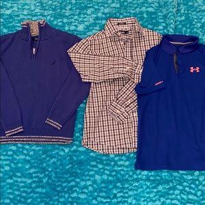 Three boys medium shirts -nautica, under Armour